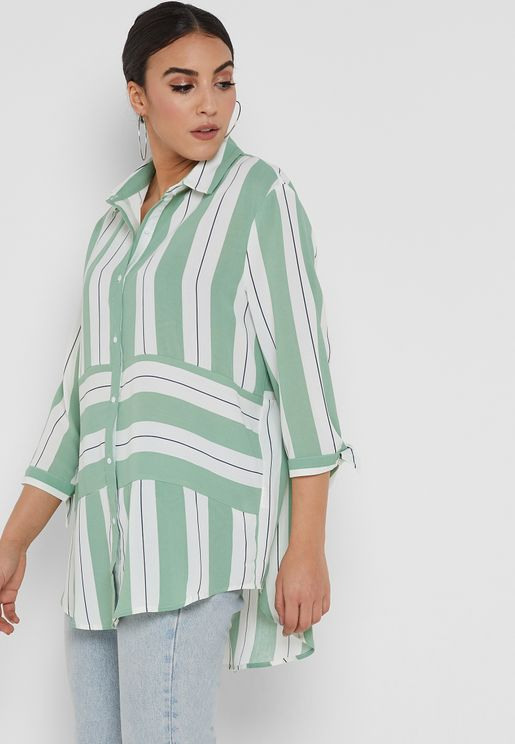 Striped Tie Sleeve Shirt