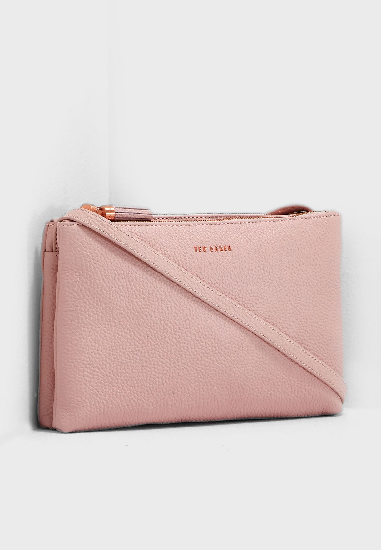 f1559e9dff3 Shop Ted baker pink Maceyy Double Zipped Crossbody 147576 for Women ...