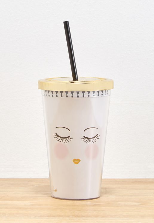 Closed Eyes With Straw Tumbler
