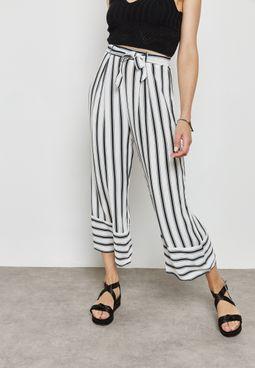 Striped Waist Tie Culottes
