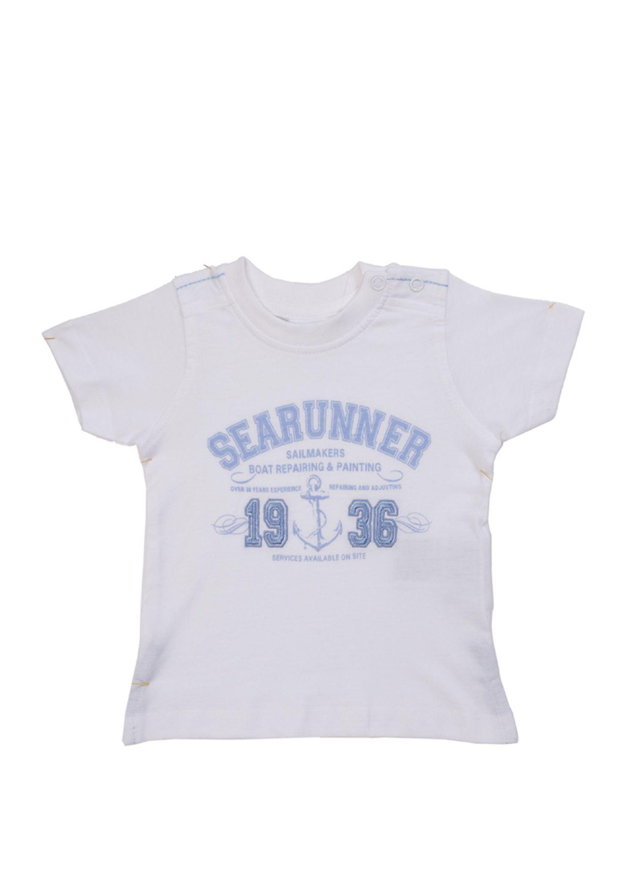 332dbef38 Shop Blue Seven white Short Sleeve Shirt for Kids in Qatar ...