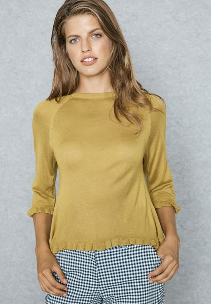 Back Overlay Frill Detail Sweater
