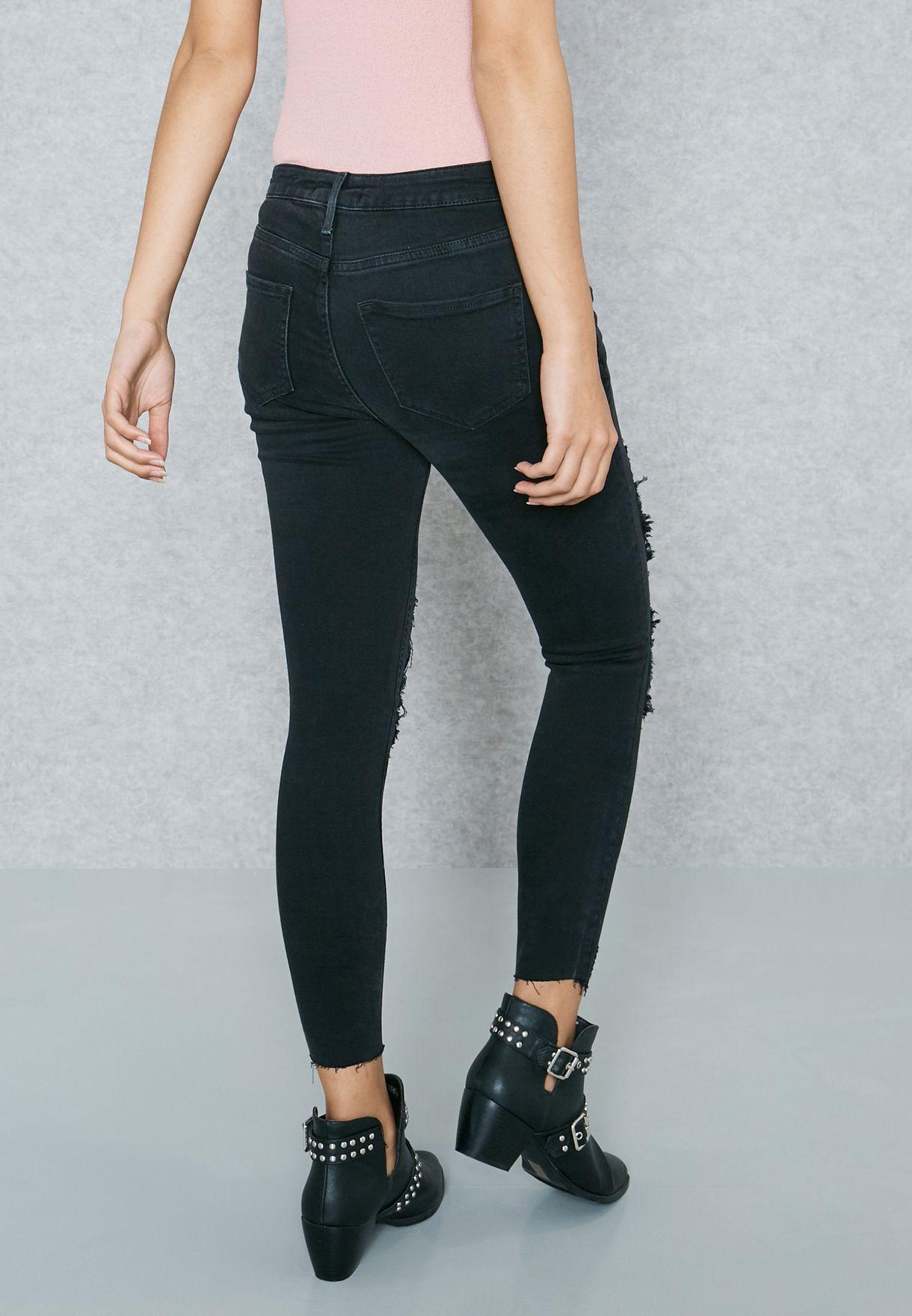 Regular Waist Lace Insert Jeans