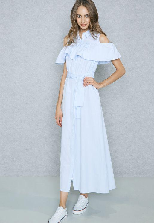 Ruffle Cold Shoulder Shirt Maxi Dress