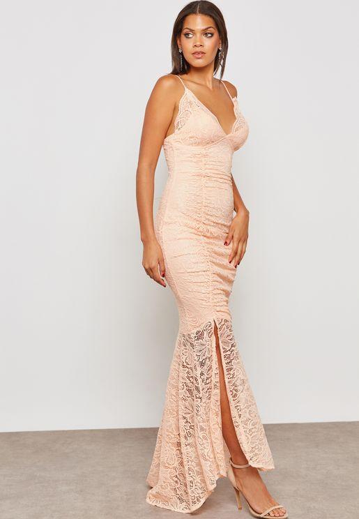 Side Slit Lace Maxi Dress