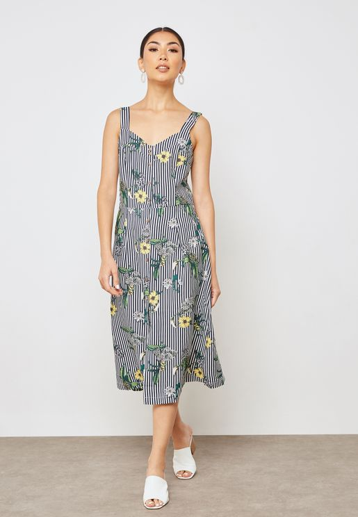 Striped Floral Printed Dress