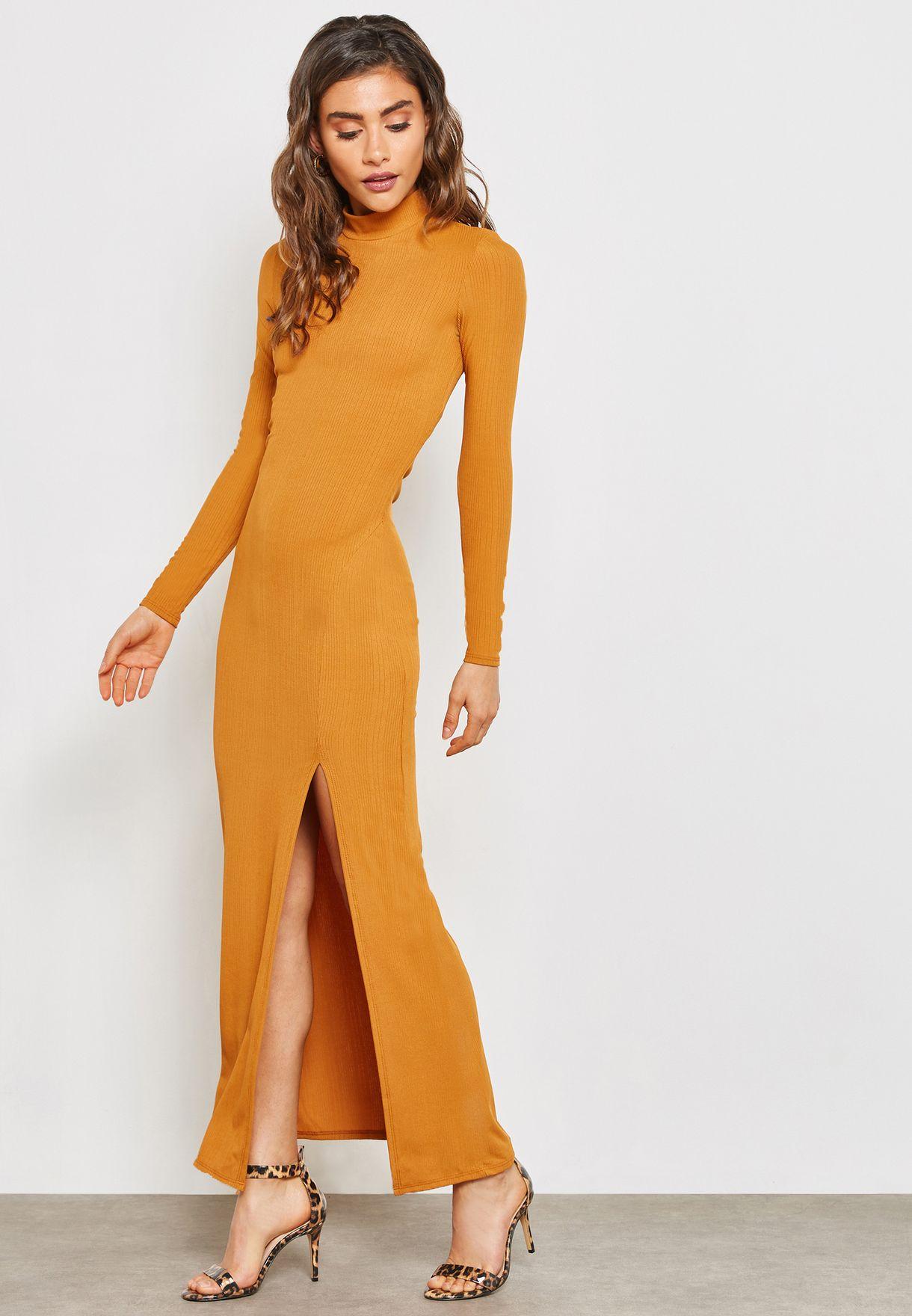Ribbed Back Split Maxi Dress