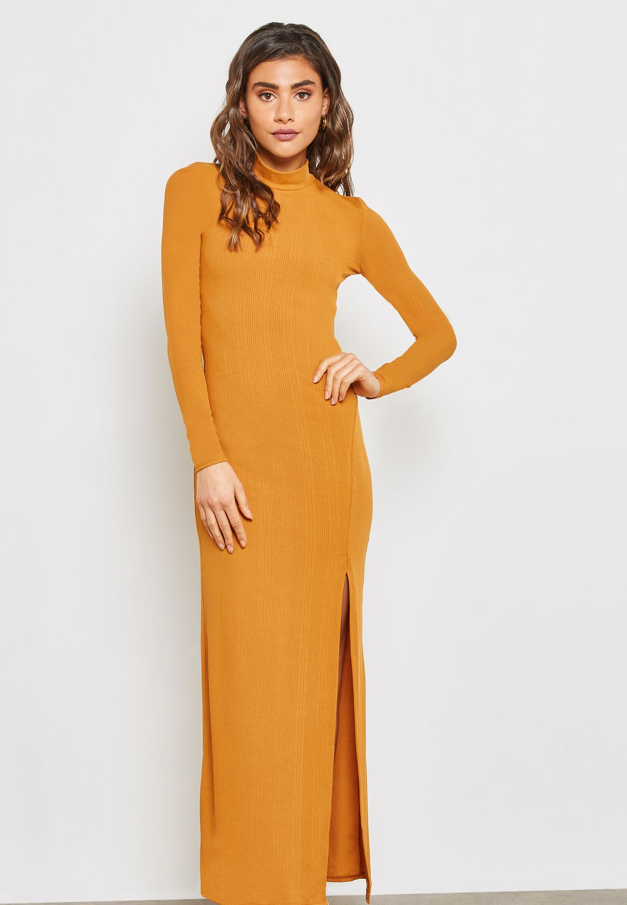 Ribbed Back Split Maxi Dress
