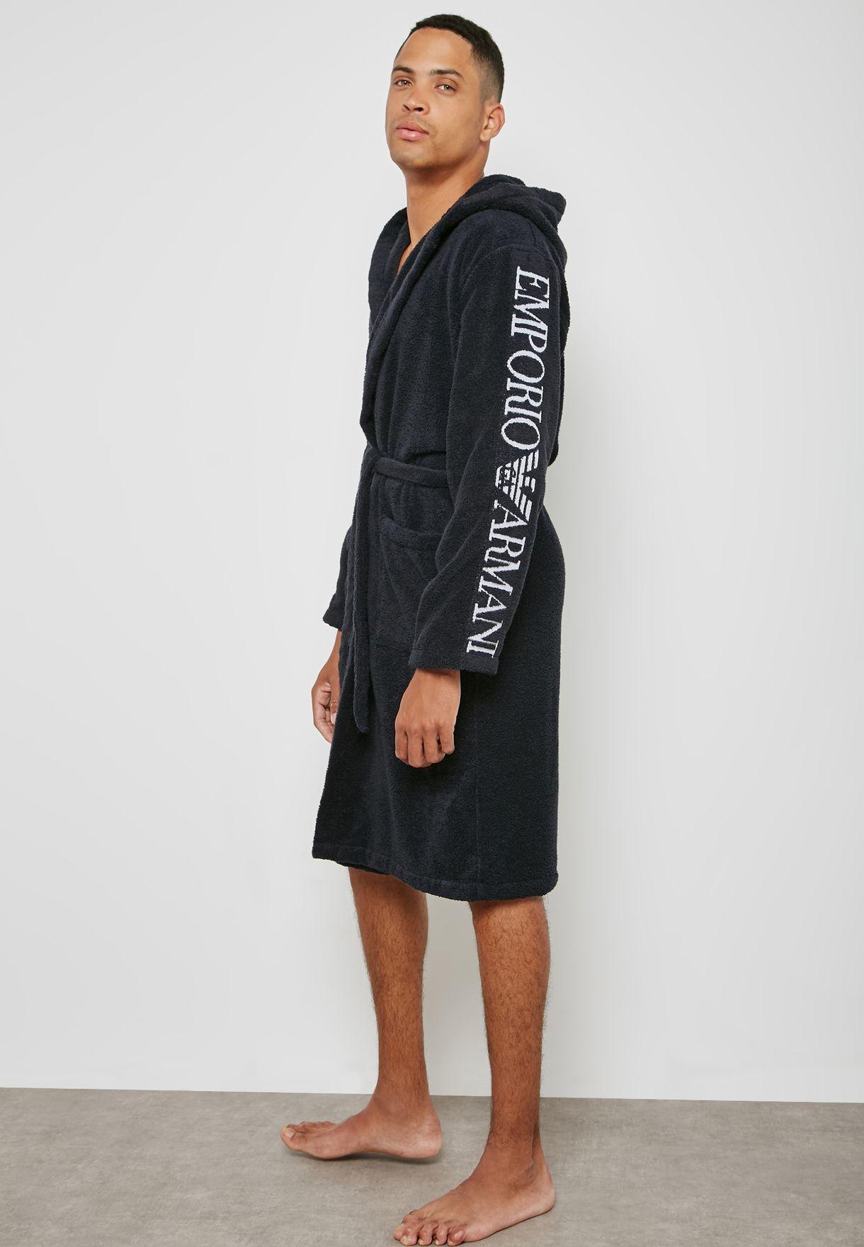 Shop Emporio Armani black DRESSING GOWN 110799-8P591-135 for Men in ...