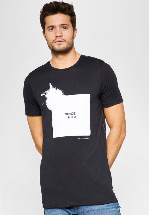 Circle Print Crew Neck  T-Shirt