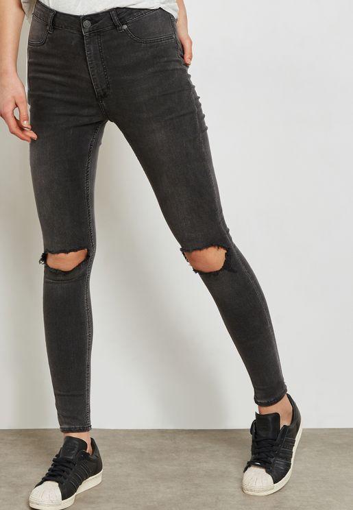 High Spray High Waist Ripped Skinny Jeans