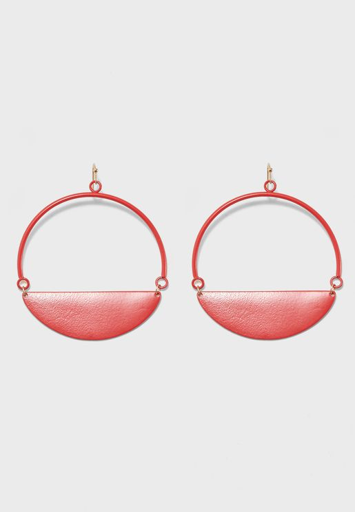 Coated Semi Circle Earrings