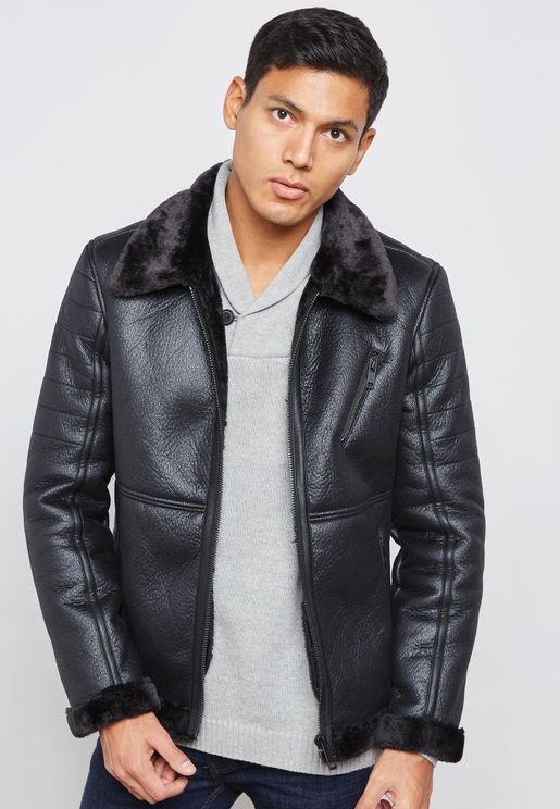 Black Bonded Jacket With Faux Fur Collar