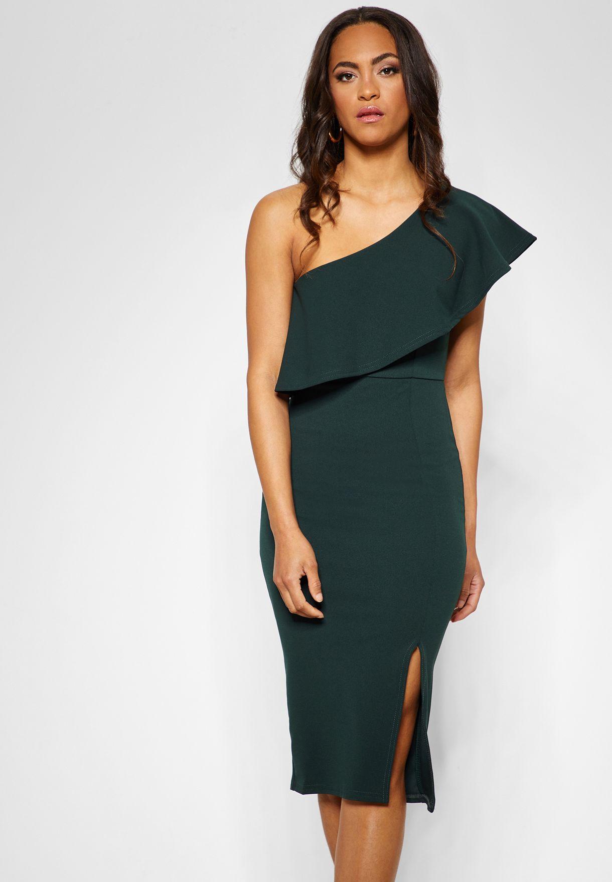 6b1922907915 Shop Missguided green One Shoulder Side Slit Bodycon Dress DE925019 ...