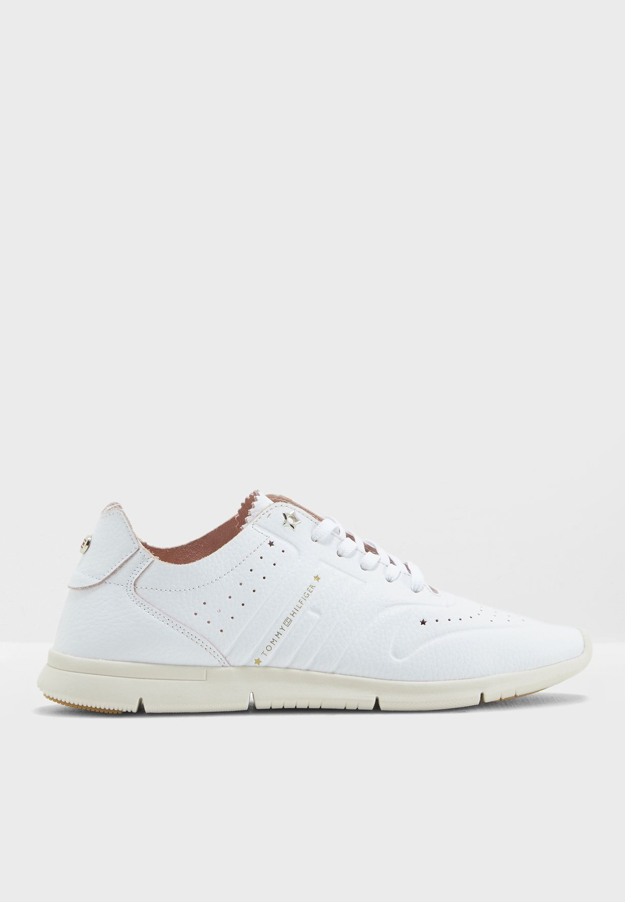a4faaf6f2249 Shop Tommy Hilfiger white Leather Light Weight Sneaker FW0FW03017 ...