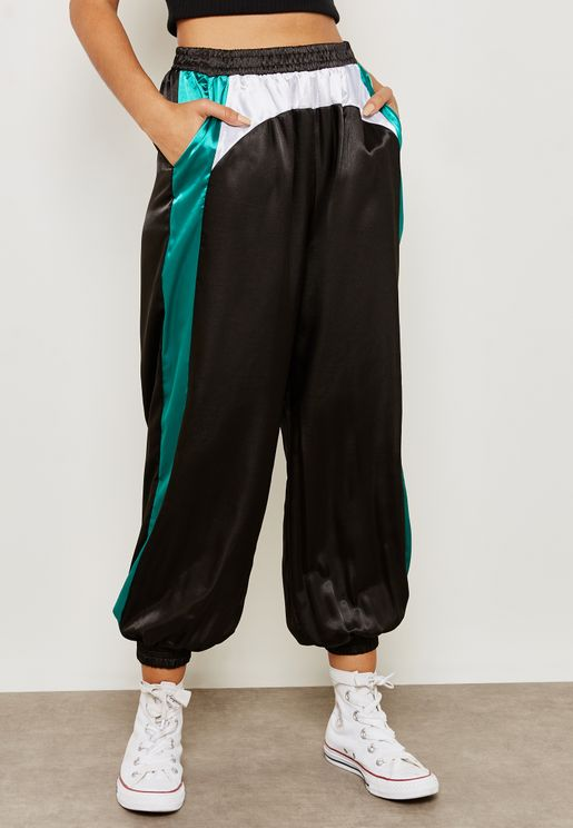 Contrast Paneled Satin Jogger Pants