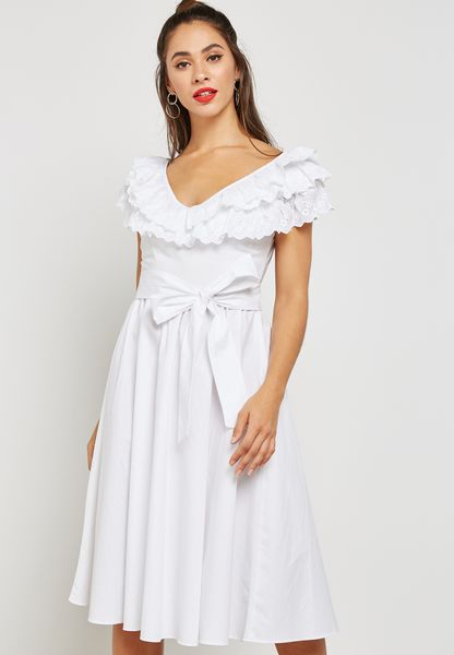 Broderie Fit and Flare Dress