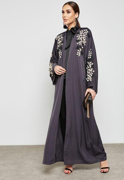 Leaf Applique Detail Abaya