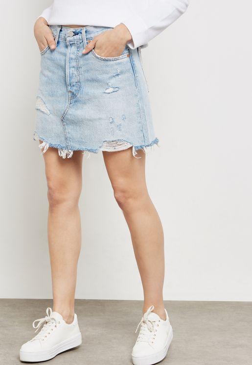 a9b7d23501c Distressed Denim Skirt