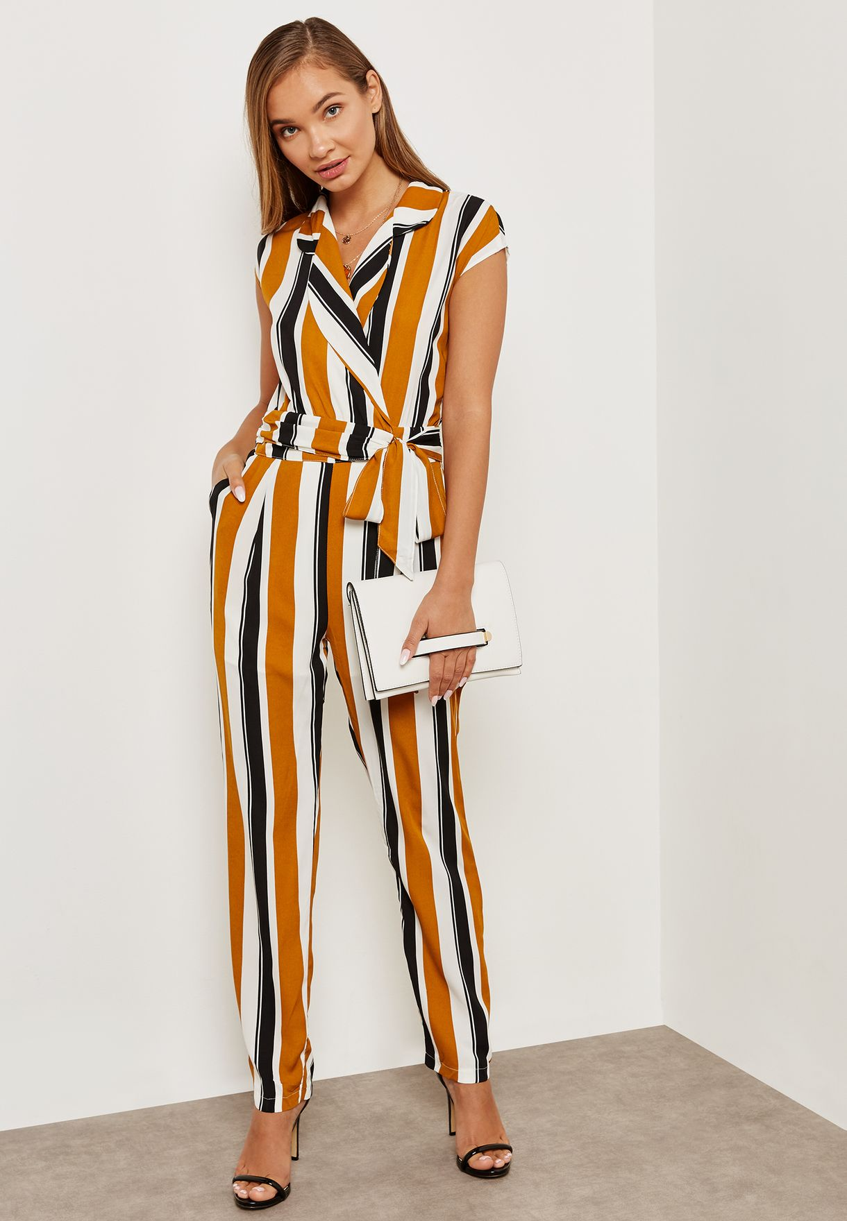 a8bb1dbdb88d Shop Ella prints Striped Wrap Front Jumpsuit 7450NCB for Women in Saudi -  EL314AT82DFL