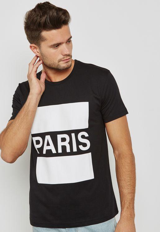 Paris Print Crew Neck T-Shirt