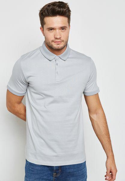 Jacquard Collar Polo Shirt