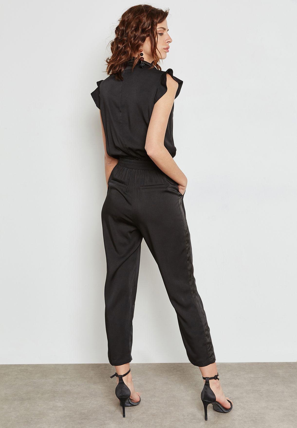 640a2c3f642 Shop Ella black Tuxedo Jumpsuit W1830 for Women in Qatar ...