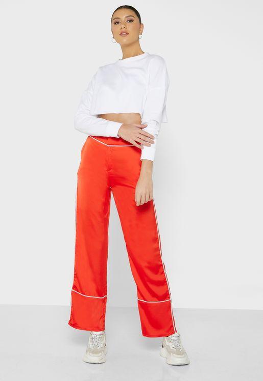Contrast Piping Pyajma Style Pants