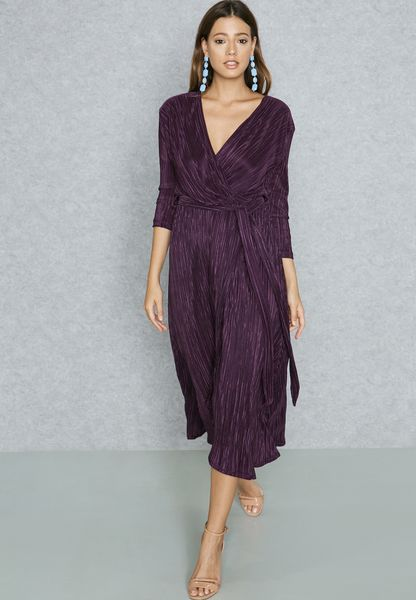 Plisse Self Tie Maxi Dress