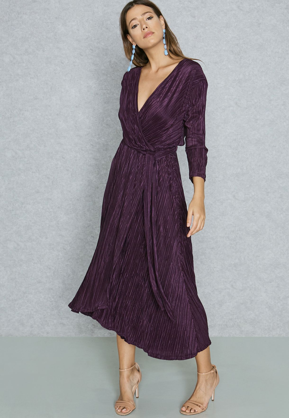 Plisse Wrap Front Tie Midaxi Dress
