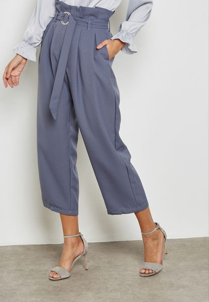 Ring Belted Cropped Pants