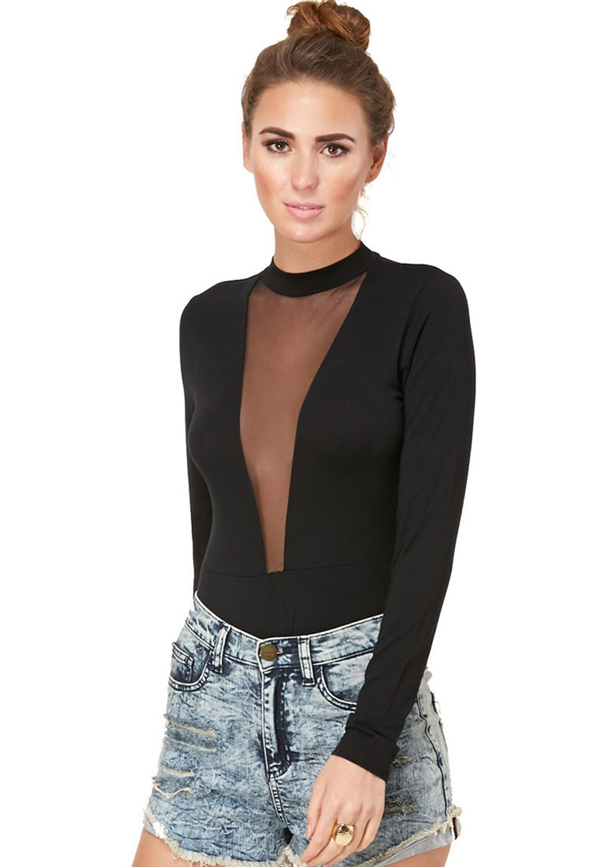 02cac86780 Shop Missguided black Mesh Bodysuit for Women in Bahrain - MI669AT82MHT