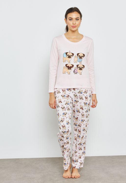 Pug Printed Pyjama Set