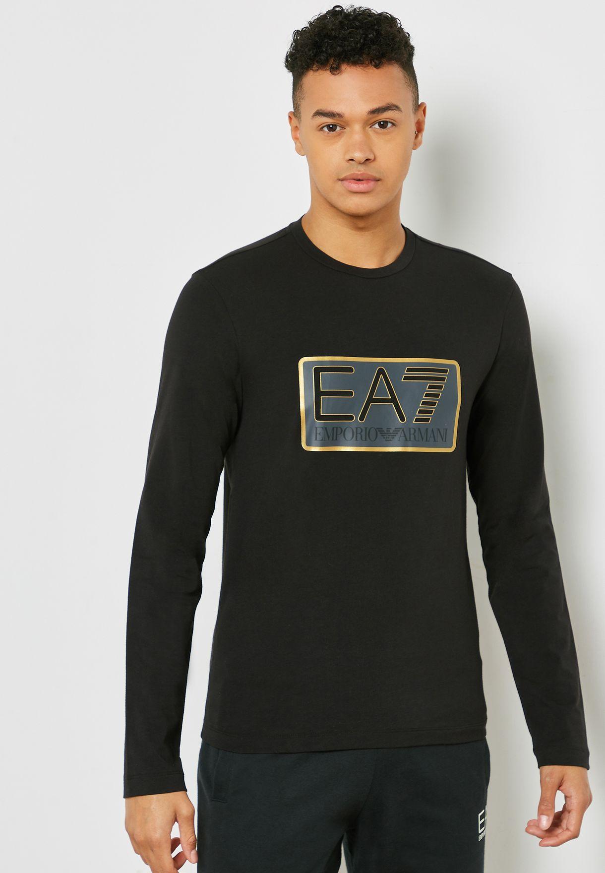 6dad4217 Shop Ea7 Emporio Armani black Train Visibility Crew Neck T-Shirt ...