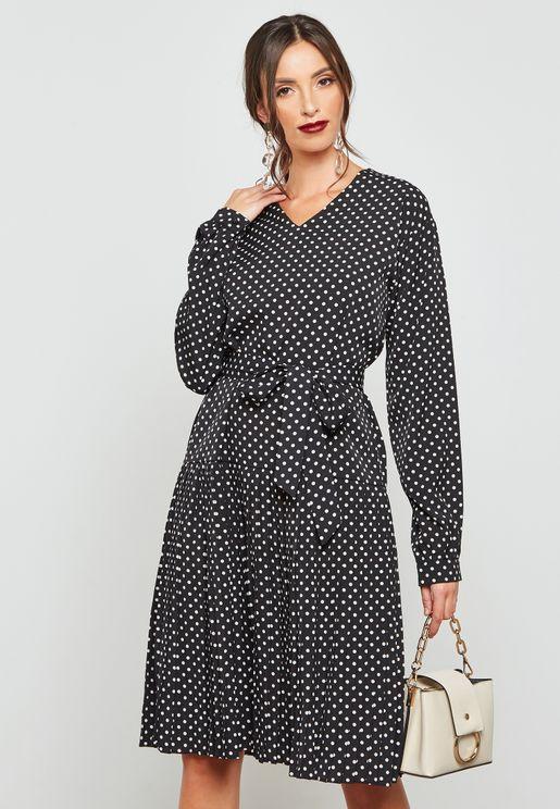 فستان بأربطة مع طبعات نقاط بولكا