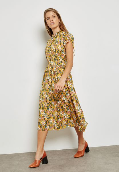 Floral Print Button Front Pleated Dress