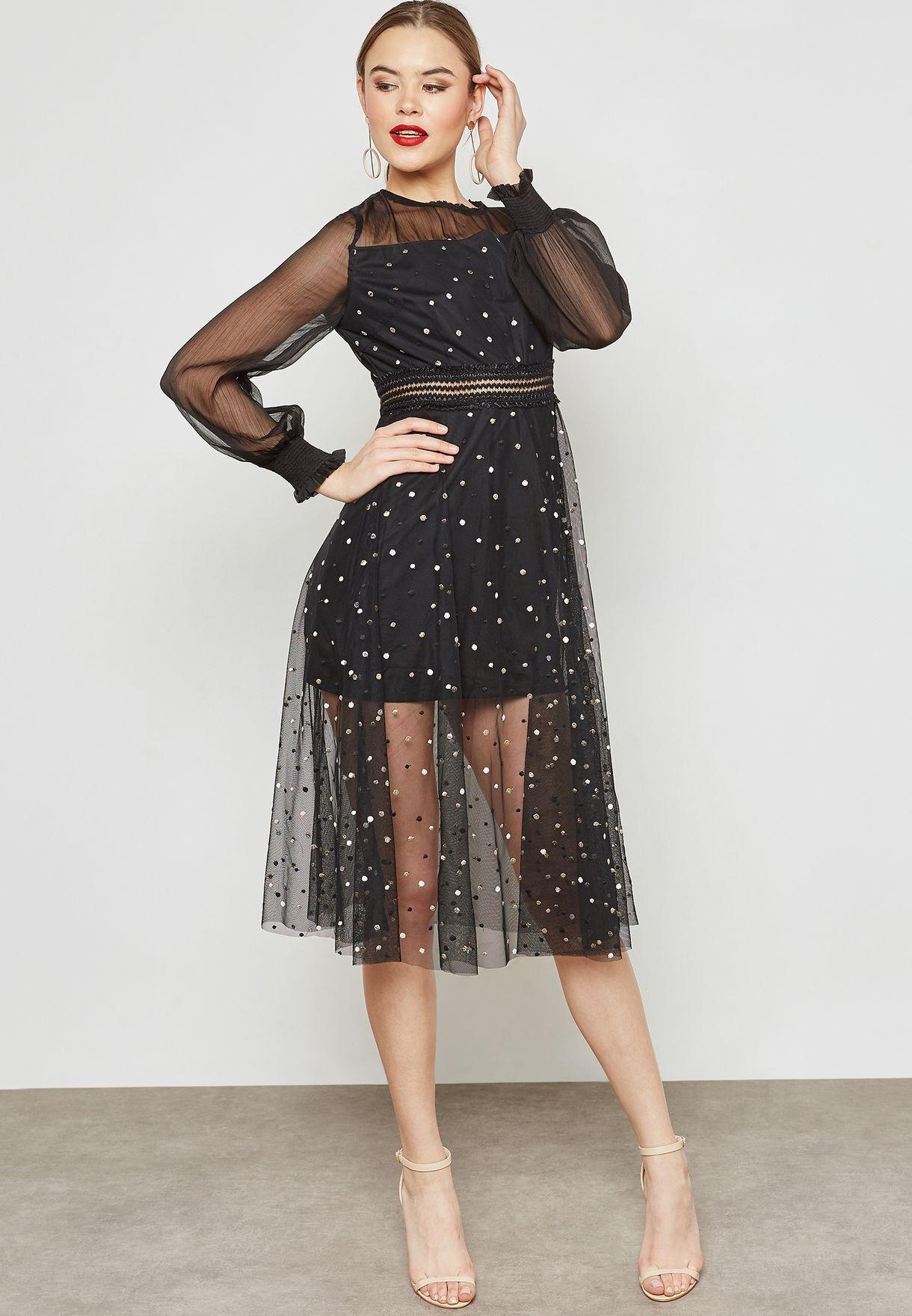 Polka Dot Tulle Mesh Overlay Midi Dress
