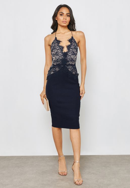 Halter Neck Lace Bodycon Dress