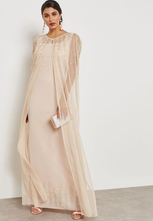 Embellished Sheer Overlay Maxi Dress