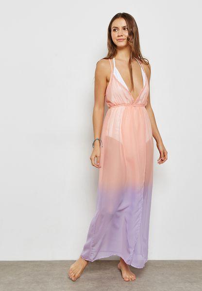 Front Split Dip Dye Kaftan Dress