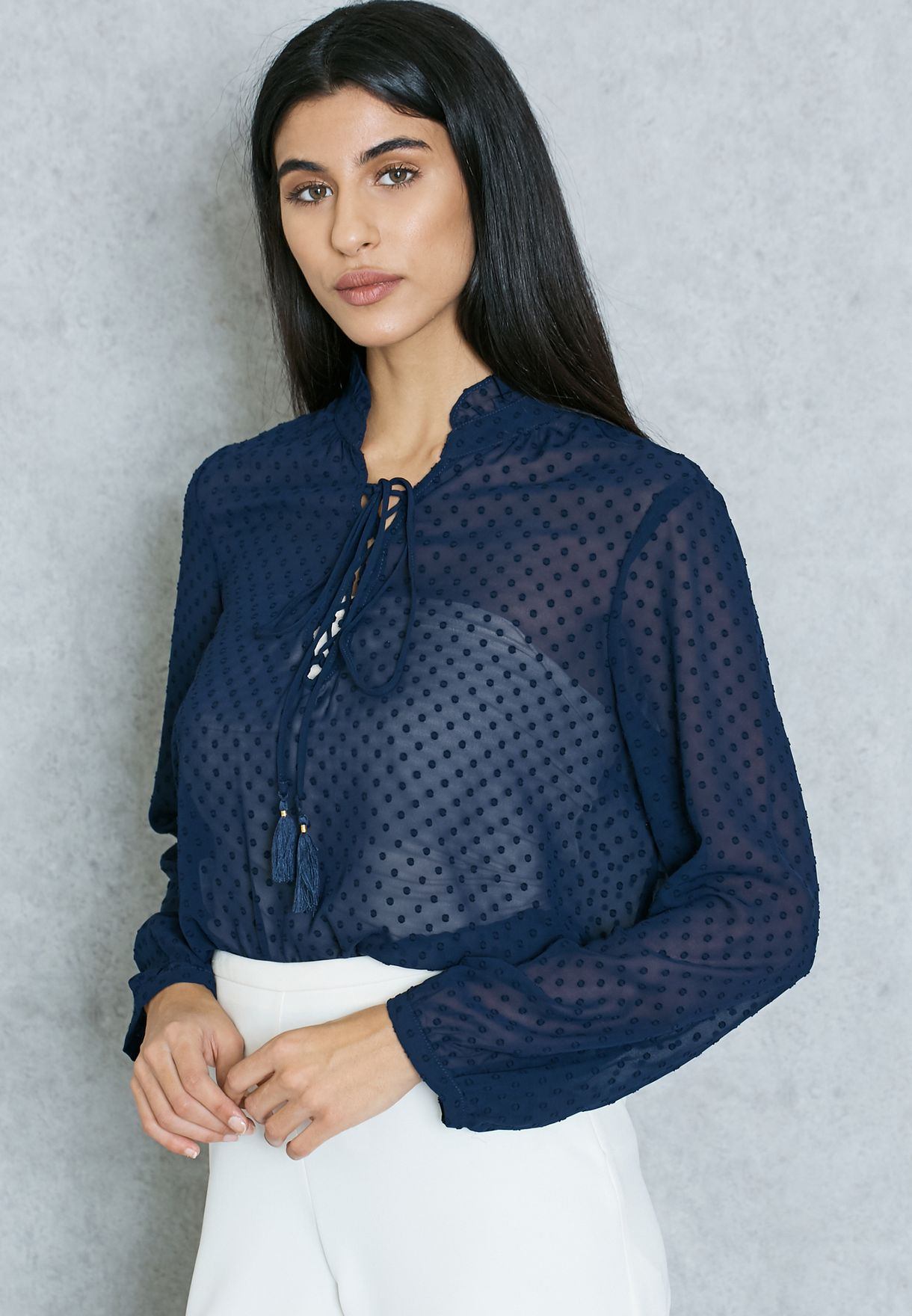 c7ddec5b0f0eb9 Shop Mango navy Lace Tie Up Shirt 73037563 for Women in Saudi ...