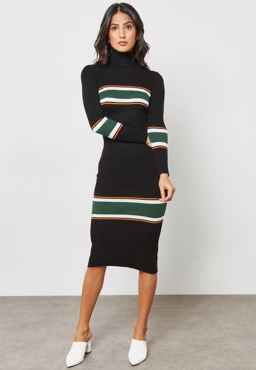 High Neck Ribbed Dress