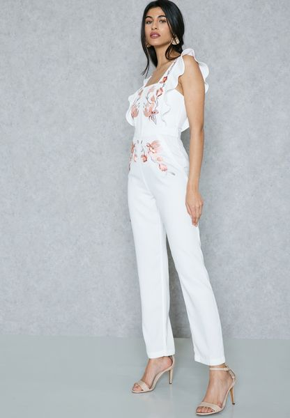 Embroidered Frill Detail Jumpsuit