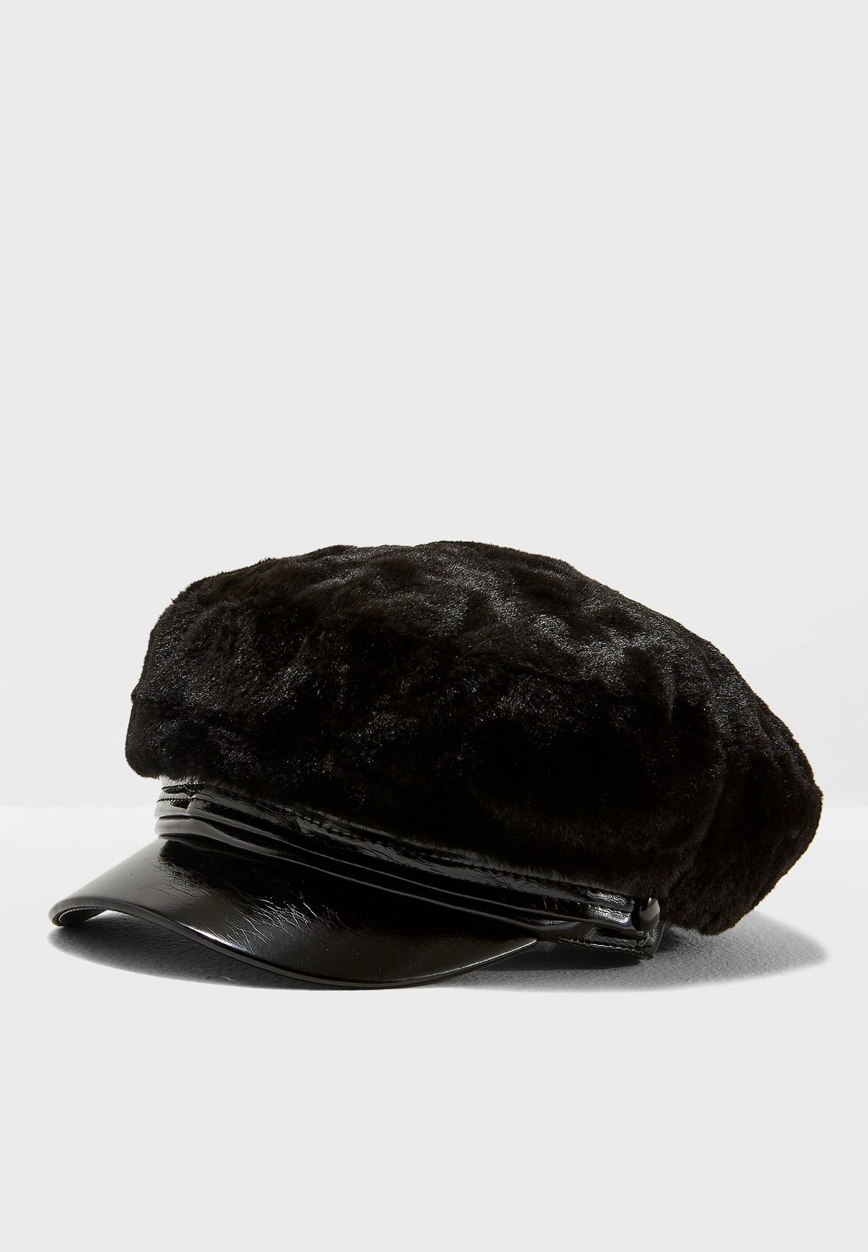 Shop Topshop black Faux Fur Baker Boy Hat 19K88NBLK for Women in Qatar -  TO856AC72AYD 92e763cc55
