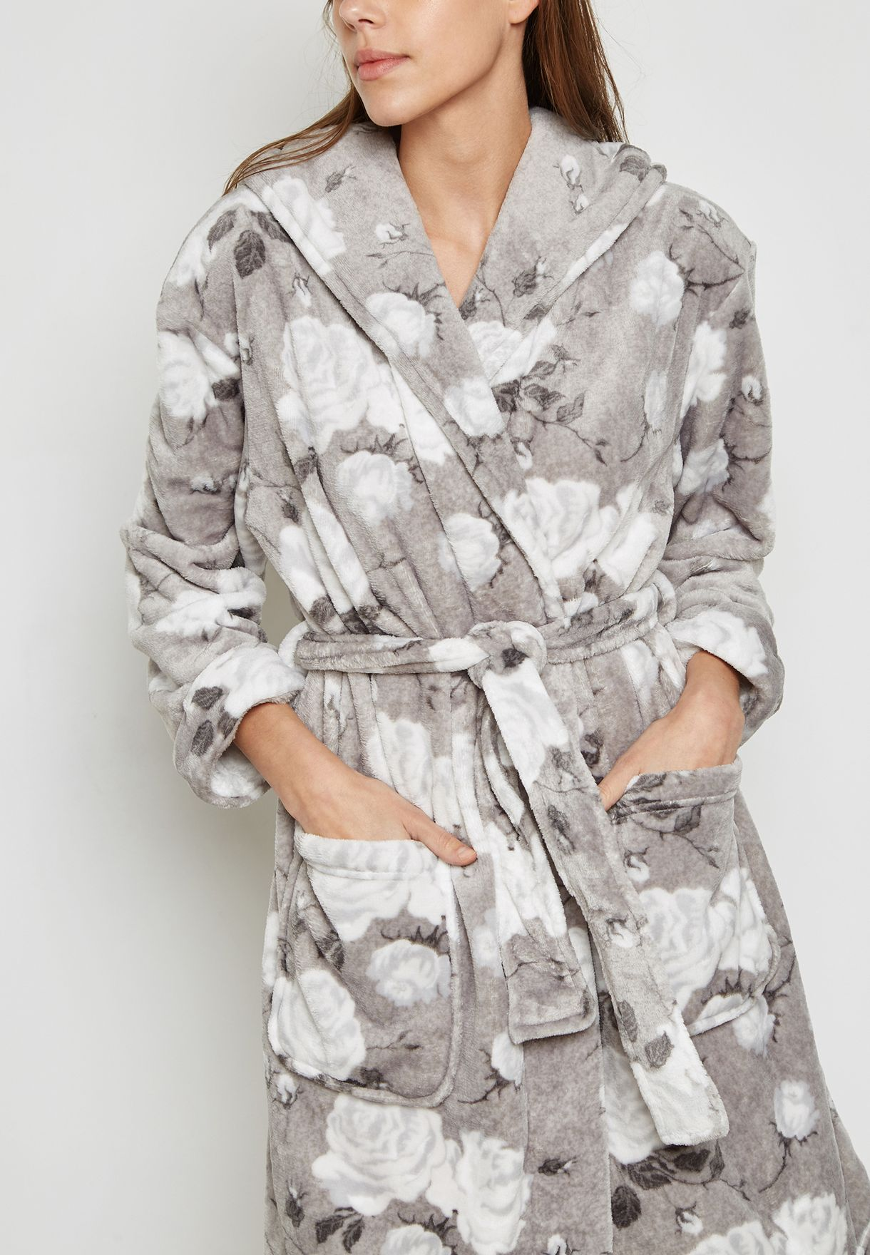 Floral Print Belted Robe