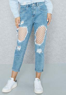 Net Insert Ripped Mom Jeans