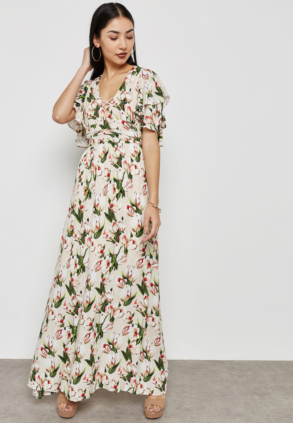 Printed Plunge Maxi Dress
