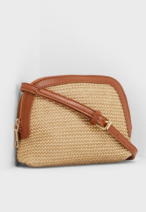 Vintage Straw Crossbody