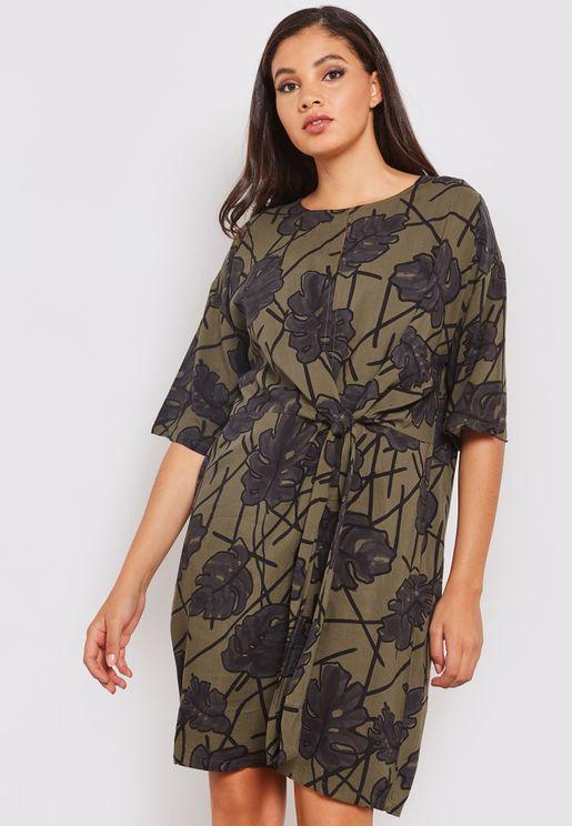 Printed Front Twist Midi Dress