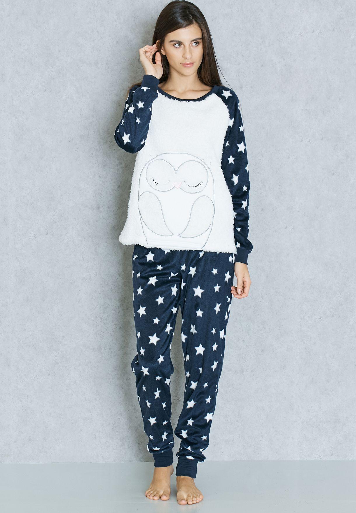 1b0d76021648c Shop Dorothy Perkins navy Owl Print Pyjama Set 33113330 for Women in ...